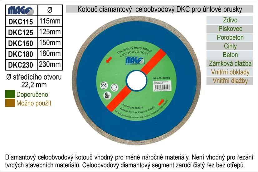 Kotouč diamantový celoobvodový pro úhlové brusky DKC180