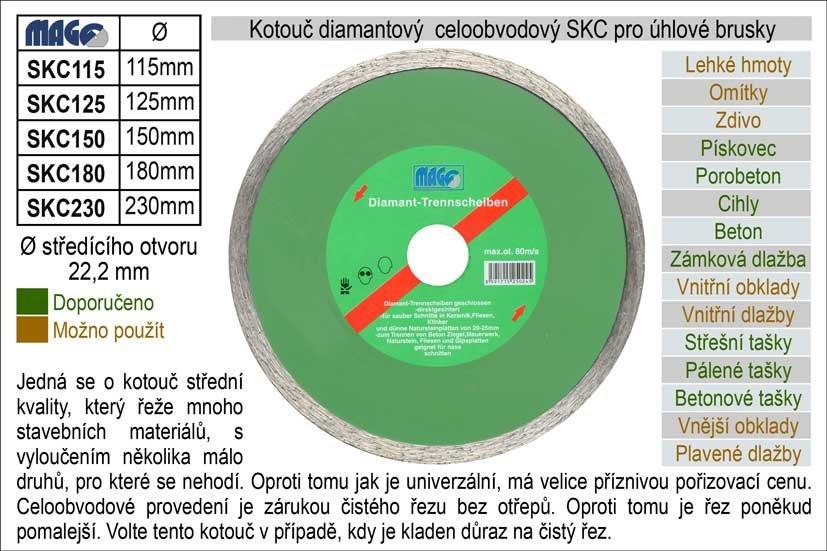 Kotouč diamantový celoobvodový pro úhlové brusky SK230