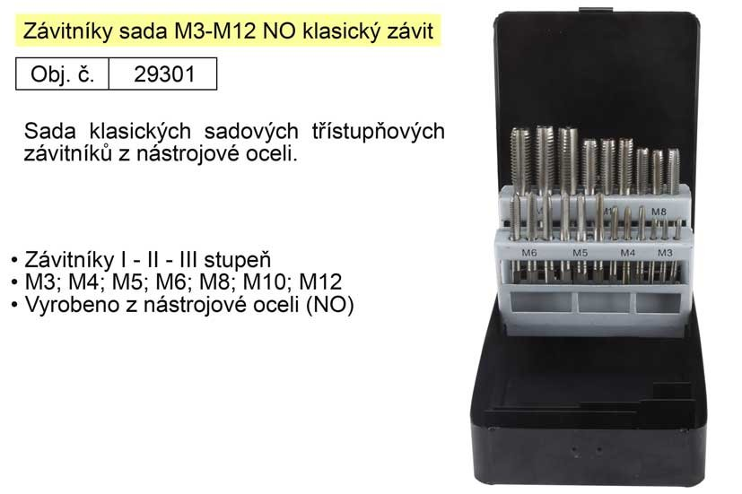 Závitníky sada M3-M12 NO klasický závit