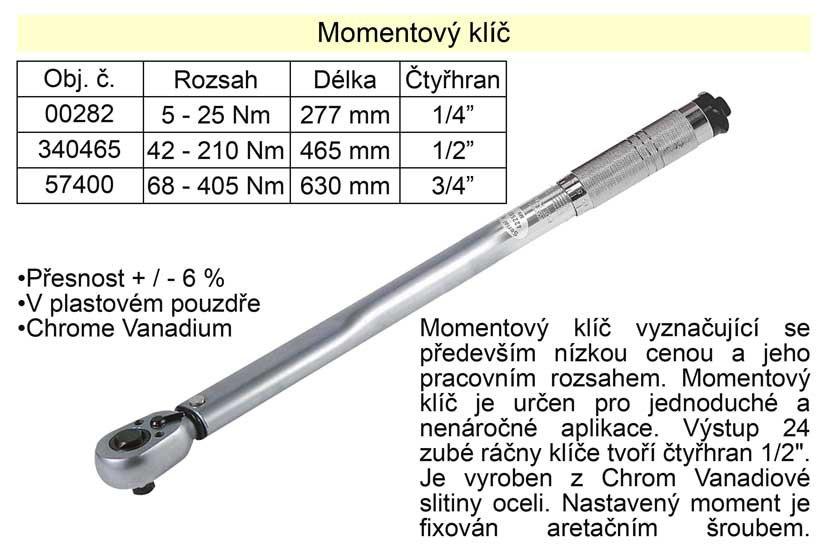 """Momentový klíč ohybový 42 - 210 Nm 1/2"""""""