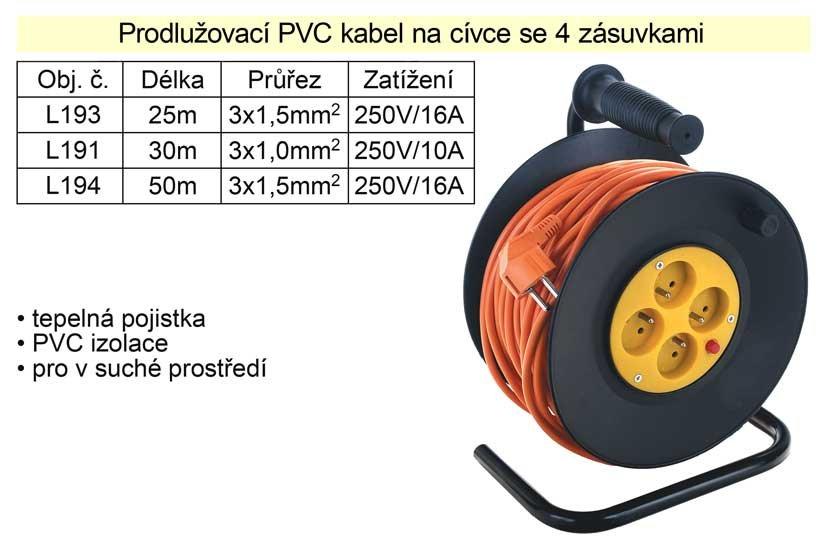 Prodlužovací kabel 50 m na cívce 4 zásuvky