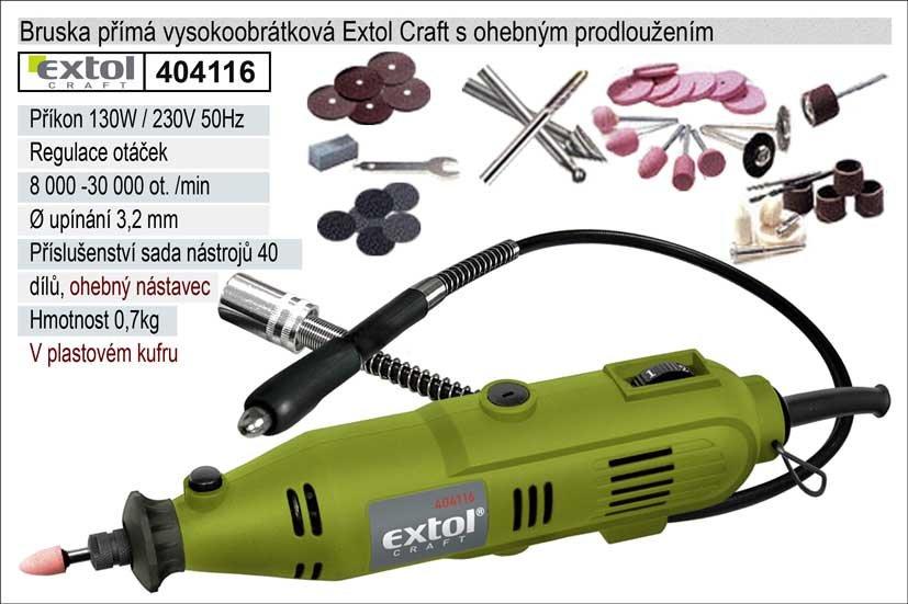 Bruska přímá vysokoobrátková Extol Craft 130W s ohebným prodloužením