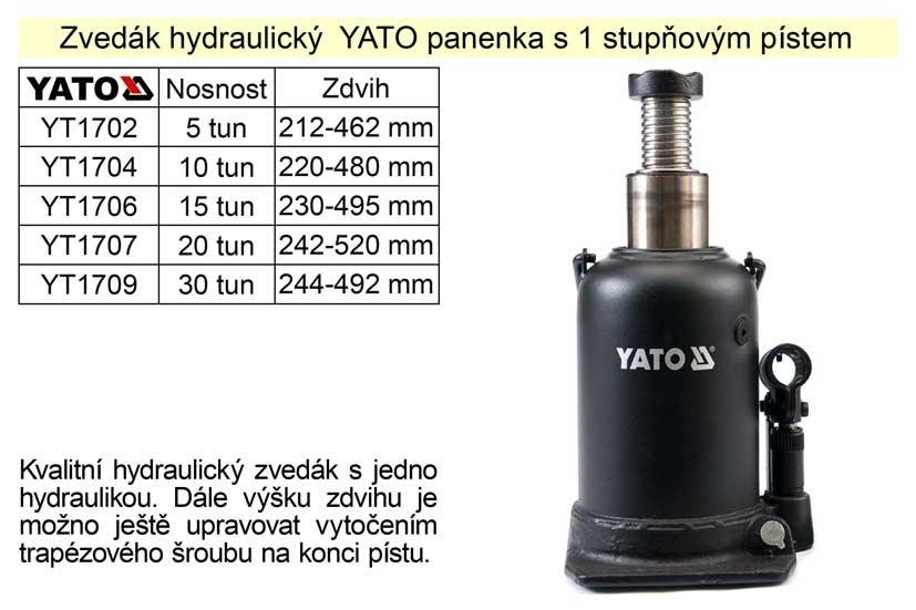Zvedák hydraulický YATO panenka s 1 stupňovým pístem, 20 tun zdvih