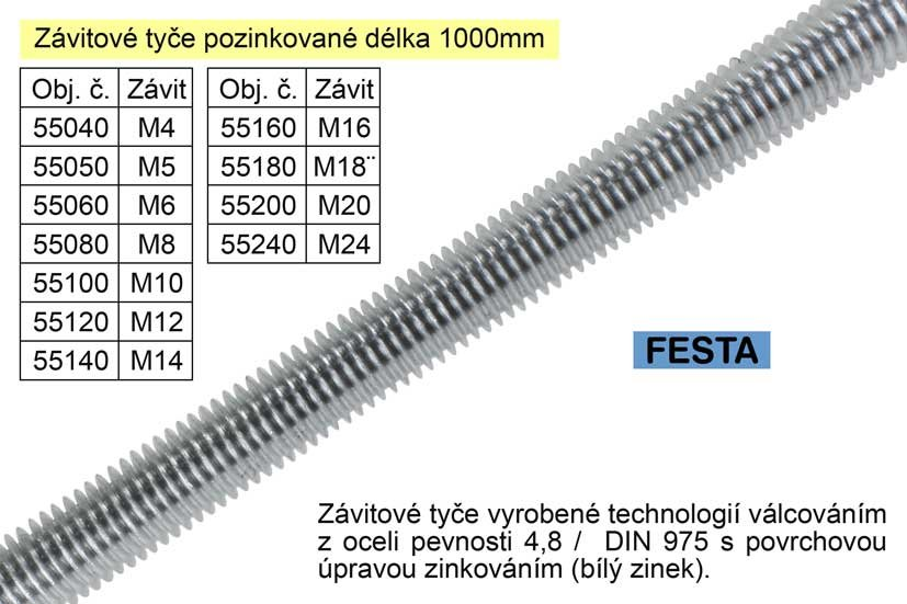 Závitová tyč pozinkovaná M12x1000mm