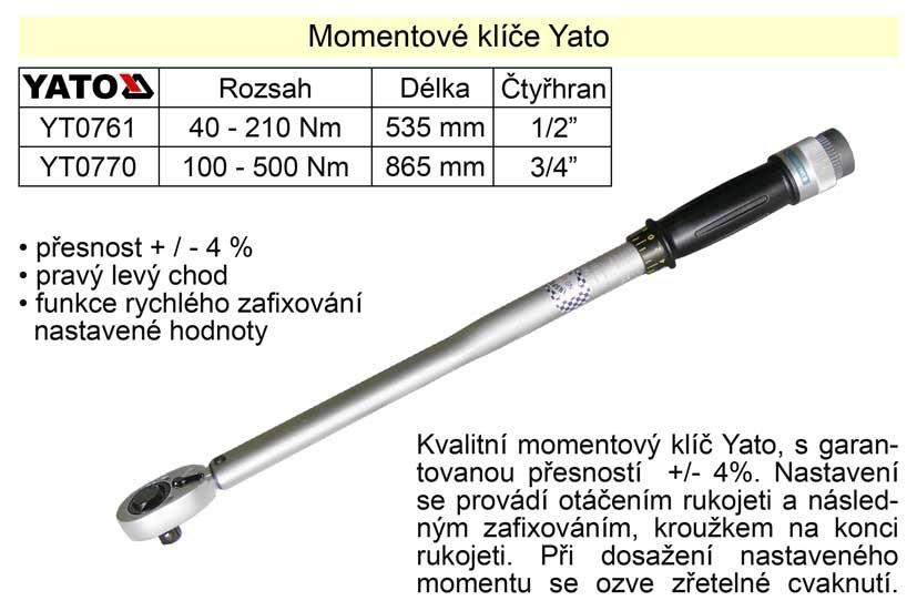 "Momentový klíč ohybový 40 - 210 Nm 1/2"" Yato"