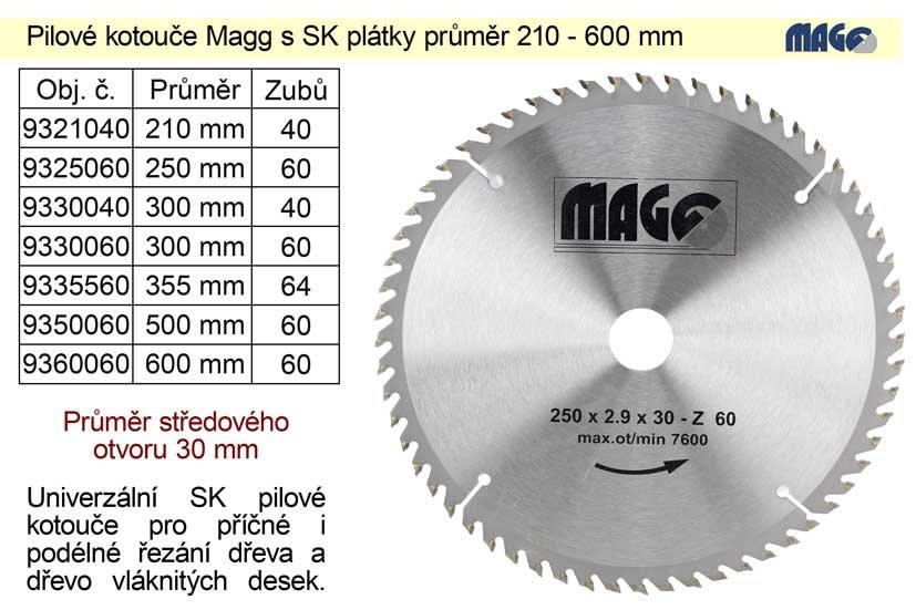 Pilový kotouč s SK plátky 300x30mm 60 zubů Magg