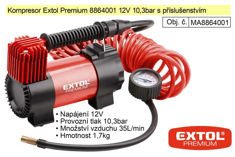 Kompresor Extol Premium 8864001 12V 10,3bar s příslušenstvím