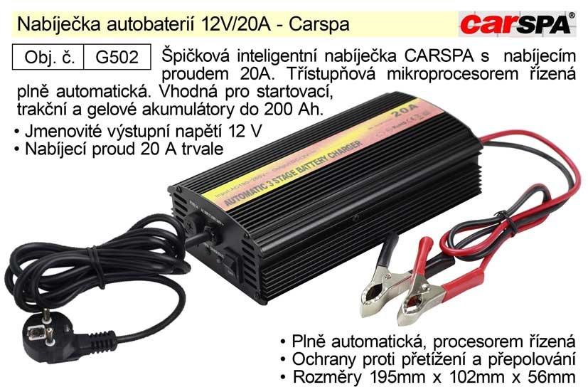 Nabíječka autobaterií 12V/20A - Carspa