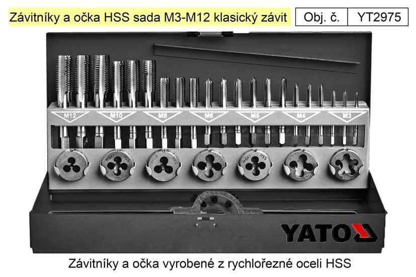 Závitníky a očka HSS sada M3-M12 klasický závit, Yato