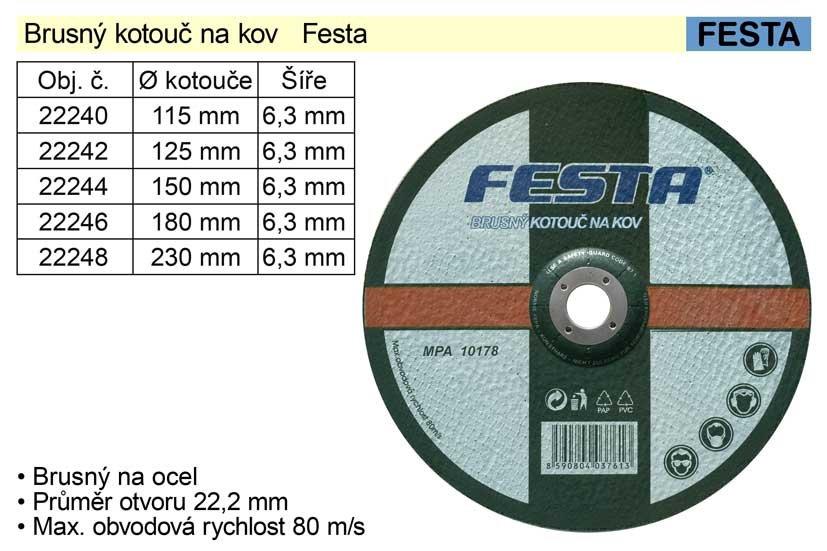 Kotouč brusný na ocel Festa 230 x 6,4 mm