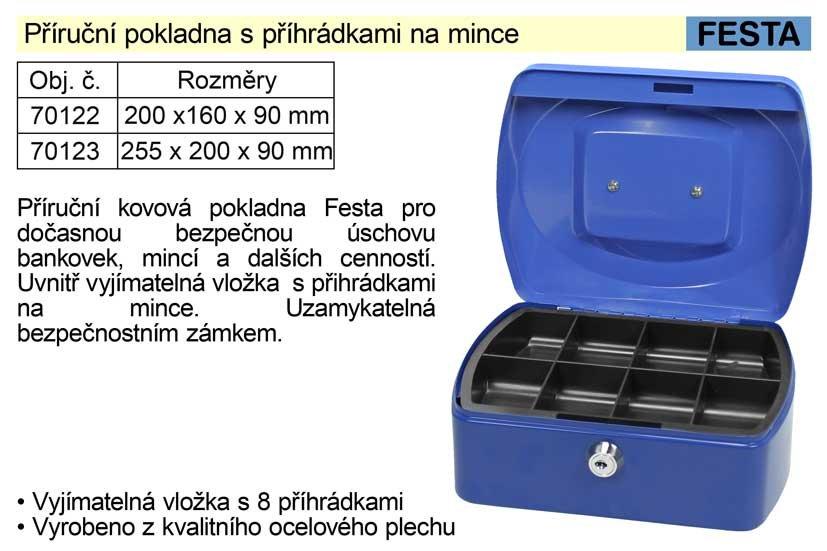 Příruční pokladna 200x160x90mm s příhrádkami na mince