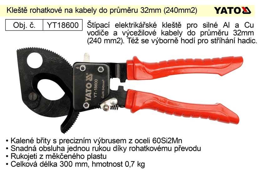 Kleště ráčnové rohatkové na kabely do průřezu 240mm2