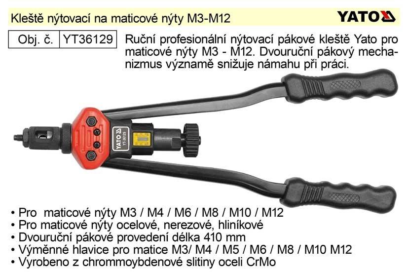 Kleště nýtovací maticové Yato M3 - M12