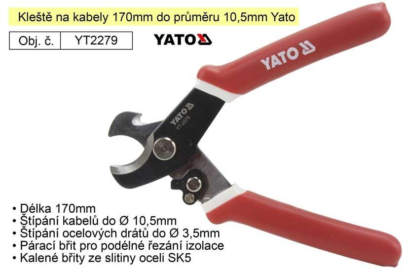 Kleště na kabely 170mm do průměru 10,5mm Yato