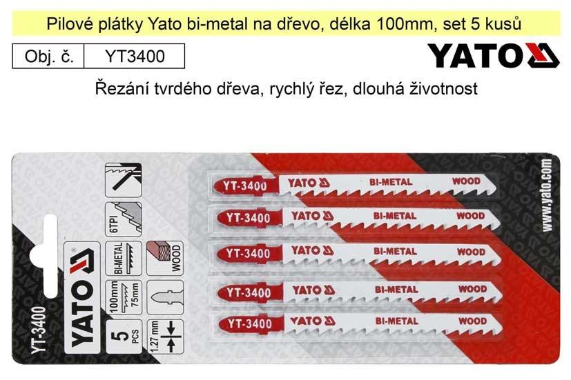 Pilové plátky Yato Bi-metal na dřevo set 5 kusů YT-3400