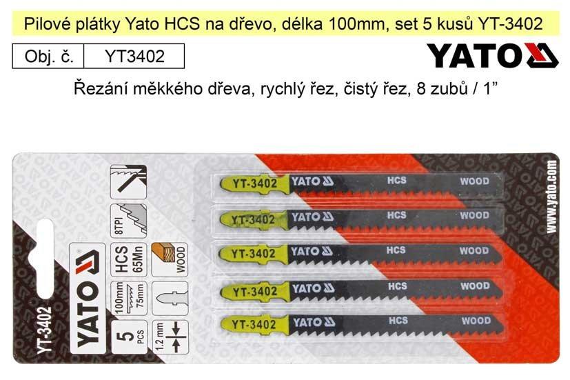 Pilové plátky Yato HCS na dřevo set 5 kusů YT-3402