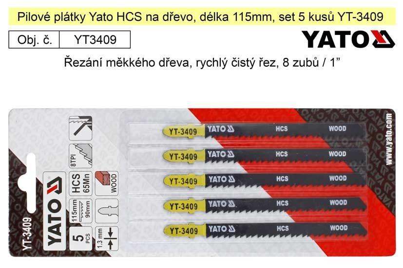Pilové plátky Yato HCS na dřevo set 5 kusů YT-3409