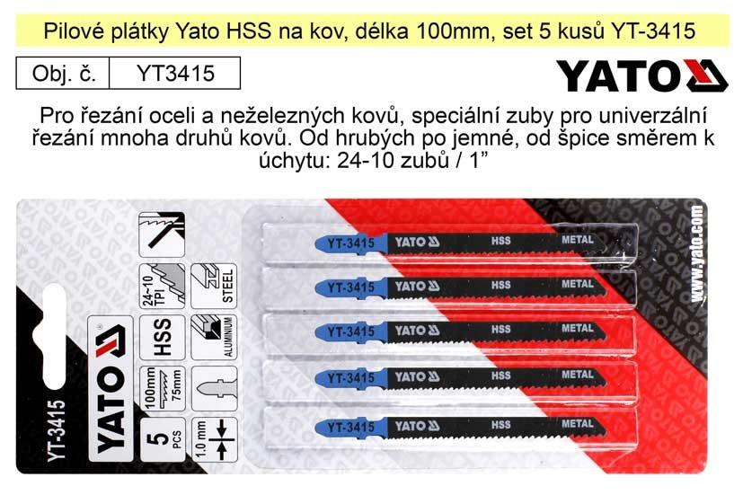 Pilové plátky Yato HSS na kov set 5 kusů YT-3415