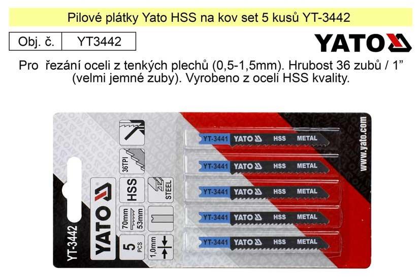 Pilové plátky Yato HSS na kov set 5 kusů YT-3442