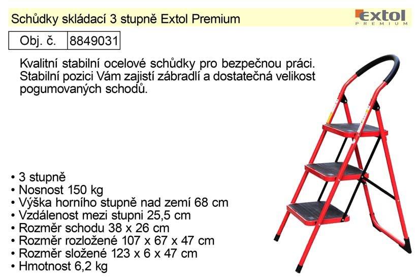 Schůdky skládací 3 stupně Extol Premium