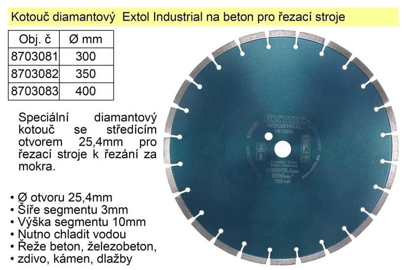 Kotouč diamantový Extol Industrial na beton 400mm segmentový pro řezací stroje