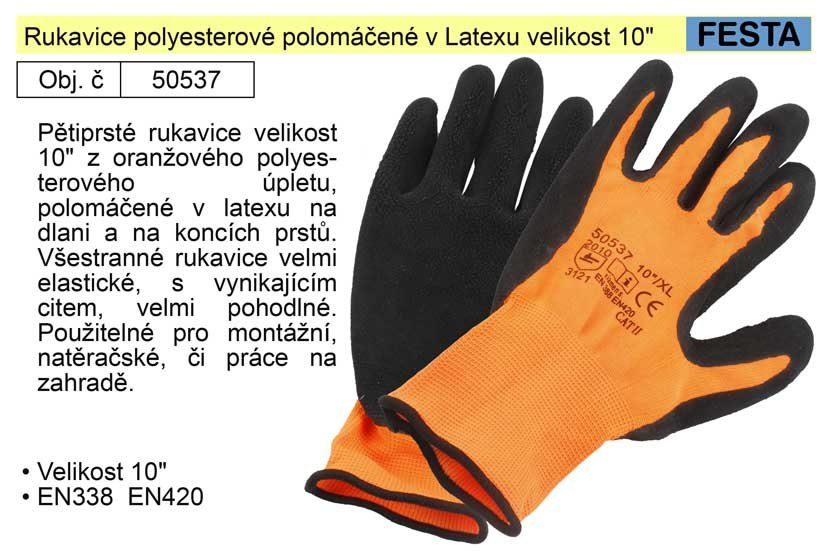 """Rukavice polyesterové polomáčené v Latexu velikost 10"""""""