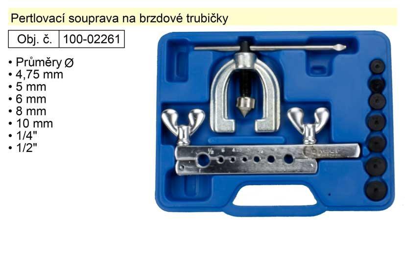 "Pertlovací souprava na brzdové trubičky: 4,75 - 5 - 6 - 8 - 10mm 1/4"" + 1/2"""