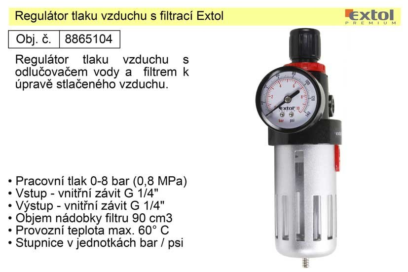 Regulátor tlaku vzduchu s filtrací Extol 8865104