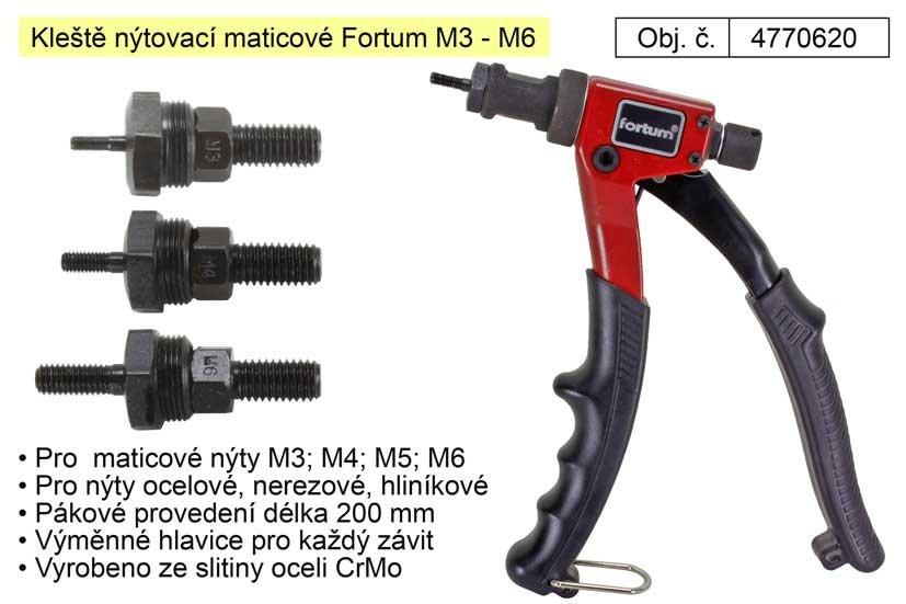 Kleště nýtovací maticové Fortum M3 - M6