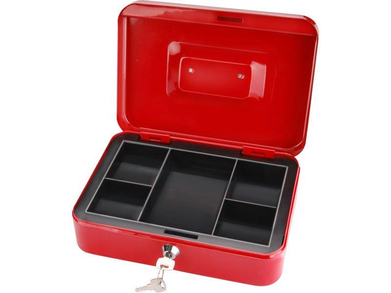 schránka na peníze přenosná s pořadačem, 250x180x90mm, 2 klíče, plastový pořadač na mince