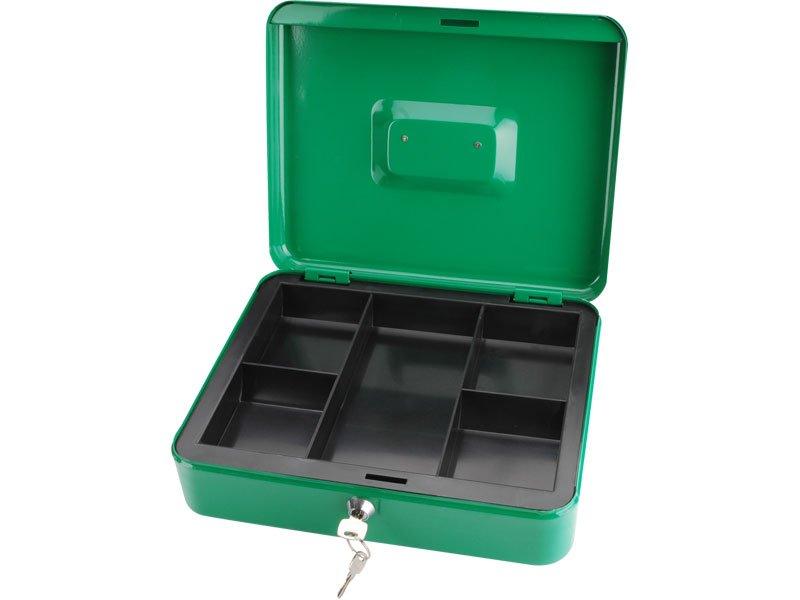 schránka na peníze přenosná s pořadačem, 300x240x90mm, 2 klíče, plastový pořadač na mince