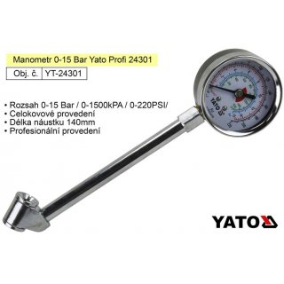 Manometr 0-15 Bar Yato Profi 24301